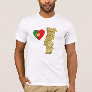 Camiseta Coração da bandeira de Portugal e t-shirt do mapa