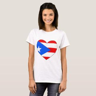 Camiseta Coração da bandeira de Puerto Rico