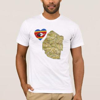 Camiseta Coração da bandeira de Suazilândia e t-shirt do