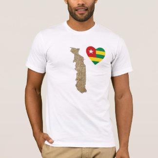 Camiseta Coração da bandeira de Togo e t-shirt do mapa