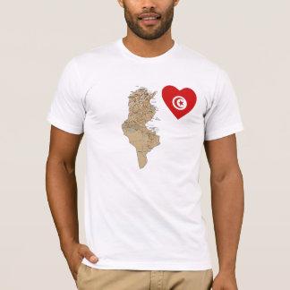 Camiseta Coração da bandeira de Tunísia e t-shirt do mapa
