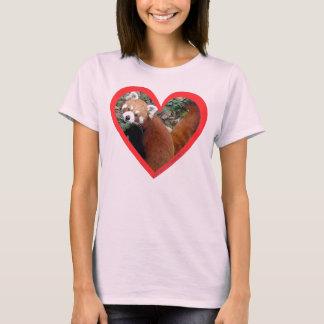 Camiseta Coração da panda vermelha