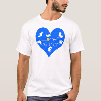 Camiseta Coração do azul da lembrança de Lloret de Mar