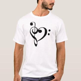Camiseta Coração do Clef da base do Clef de triplo