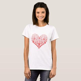 Camiseta Coração do impressão da pata