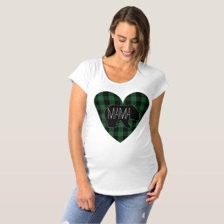 Camiseta Coração do Mama Carregamento Rústico Verde Xadrez