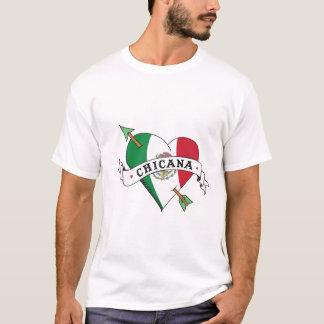 Camiseta Coração do tatuagem de Chicana com bandeira