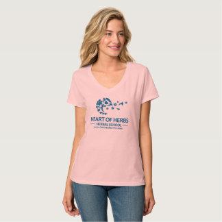 Camiseta Coração do V-Pescoço erval da escola das ervas