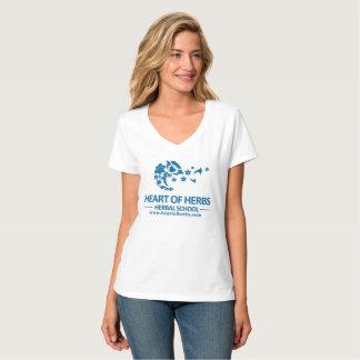 Camiseta Coração do V-Pescoço erval do logotipo da escola