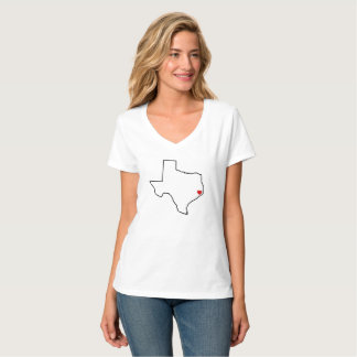 Camiseta Coração do vermelho do esboço de Texas do alivio