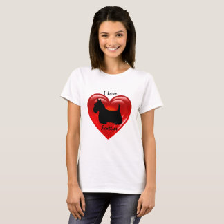 Camiseta Coração dobro preto de Terrier do Scottish, eu amo