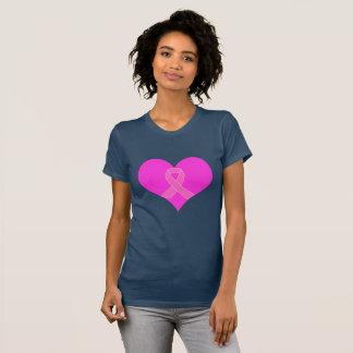 Camiseta Coração e design da caridade do cancro da mama da