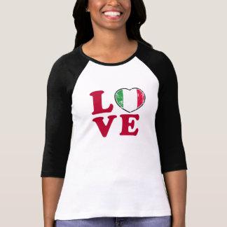 Camiseta Coração italiano da bandeira do amor