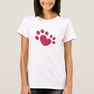 Camiseta Coração Polydactyl do impressão da pata do gato