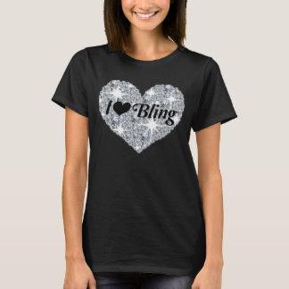 Camiseta Coração que do diamante do falso eu amo bling o