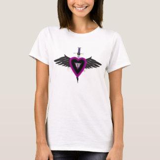 Camiseta coração roxo voado do amor