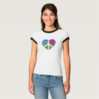 Camiseta Coração triplo do amor da paz da cor floral