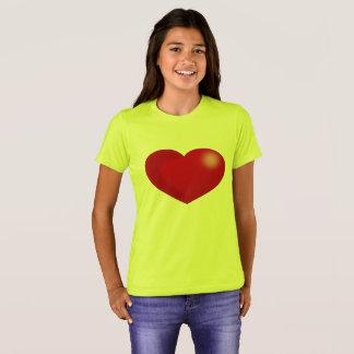 Camiseta Coração vermelho brilhante, t-shirt amarelo das