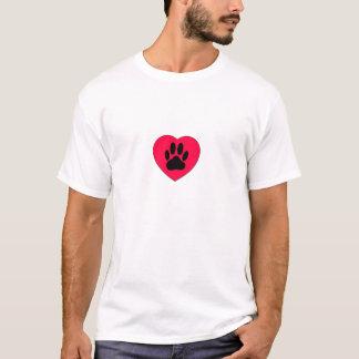 Camiseta Coração vermelho com impressão da pata do cão