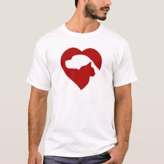 Camiseta Coração vermelho do gato e do cão do salvamento do