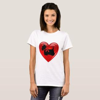 Camiseta Coração vermelho dobro preto de Terrier do