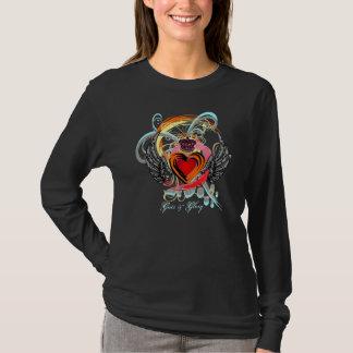 Camiseta Coração voado com coroa & t-shirt dos redemoinhos