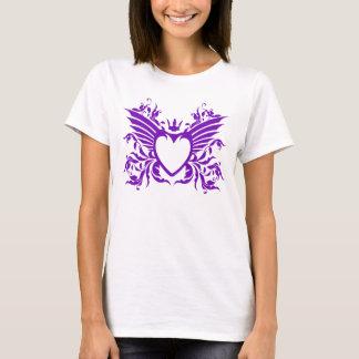 Camiseta Coração voado com o t-shirt da coroa no roxo