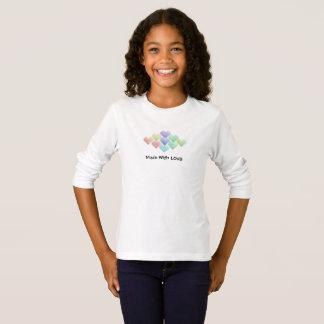 Camiseta Corações bonitos do arco-íris