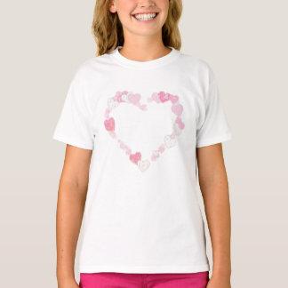 Camiseta Corações do brilho do rosa Pastel