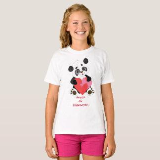 Camiseta Corações do urso de panda para Homeschool