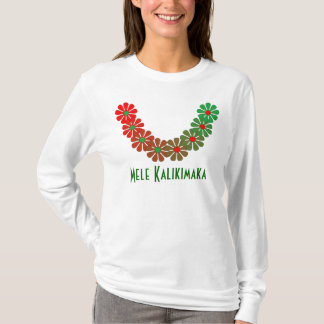 Camiseta Cores do Feliz Natal de Mele Kalikimaka dos leus