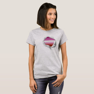 Camiseta Cores verdadeiras lésbicas da bandeira LGBT do
