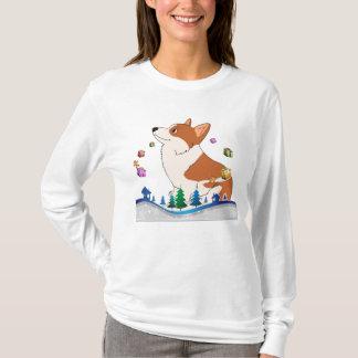 Camiseta Corgi Welch do feriado com presentes de flutuação
