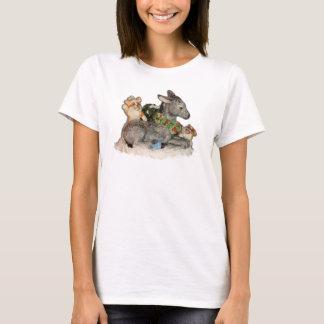 Camiseta Corgis & asno no t-shirt do Natal do Corgi da neve
