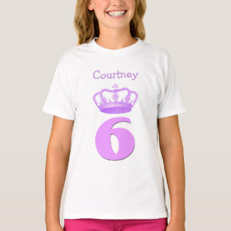 Camiseta Coroa da menina de 6 aniversários e nome feito sob