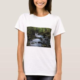Camiseta córrego escondido na floresta