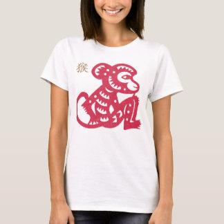 Camiseta Corte chinês do papel do macaco do zodíaco