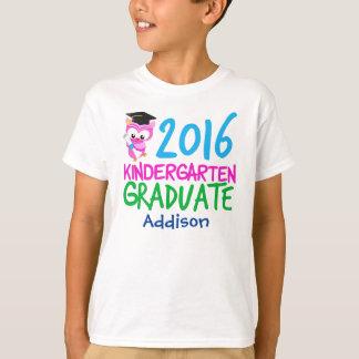 Camiseta Coruja 2016 bonito da menina graduada do jardim de