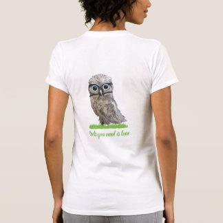Camiseta Coruja Burrowing bonito engraçada na prata e no