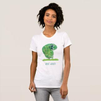 Camiseta Coruja Burrowing engraçada em verde e no azul