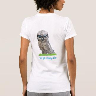 Camiseta Coruja Burrowing engraçada na prata e no azul
