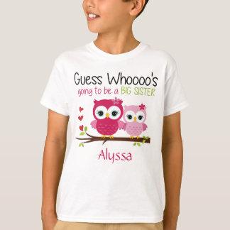 Camiseta Coruja da irmã mais velha personalizada