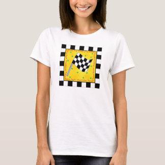 Camiseta Costume Checkered da bandeira do fã da raça da
