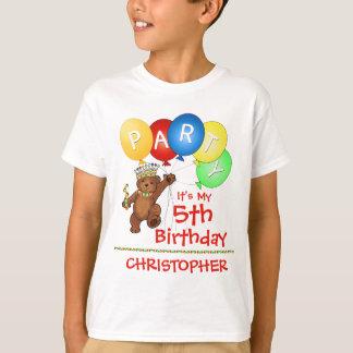 Camiseta Costume da festa de aniversário do urso real 5o