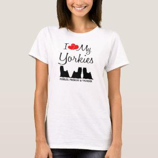 Camiseta Costume eu amo meus três Yorkies
