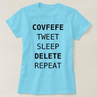Camiseta COVFEFE, TWEET, SONO, SUPRESSÃO, REPETEM o azul