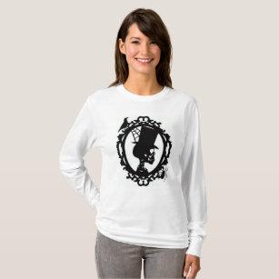 Camiseta Crânio assustador na luva longa T das mulheres do