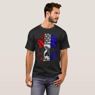 Camiseta Crânio azul branco vermelho