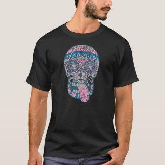 Camiseta Crânio azul cor-de-rosa com corações e estrelas