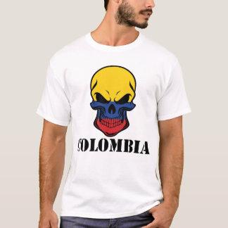 Camiseta Crânio colombiano Colômbia da bandeira